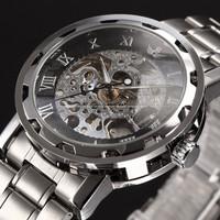 2014 HOT SALE Mens  Steampunk Wristwatch Skeleton Mechanical Man Stainless Steel Watch Free shipping