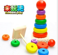 Free shipping colorful Seven rainbow tower piles children  wooden toy baby educational toys  puzzle blocks