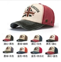 Free shipping, 1pcs 2014  new national flag rivet baseball cap Pure cotton do old hats for men and women 8 colors