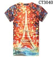 Free shipping 2014 fashion men 3d t shirt cool tshirt for man cotton,male short sleeve o-neck t-shirt printed style