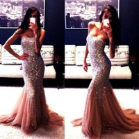 Hot Mermaid Sweetheart Sleeveless Court Train Tulle Satin Gold Beaded Crystals Long Evening Dresses Prom Dresses Gown