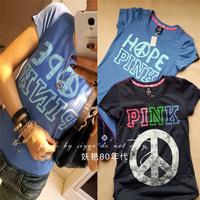 Free Shipping new 2014 brand fashion women t-shirt lovepink 100% cotton shirt tops for women t-shirts
