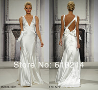 2014 Graceful Simple V Neck Mermaid Ivory Evening Prom Dresses Designer Collection Sexy Formal Pageant Occasion Gown Custom Made