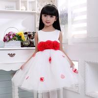 Flower Girl Dresses Sleeveless Waist Chiffon Dress Girls Toddler Flower Tutu Layered Princess Party Bow Kids Formal Dress D1405
