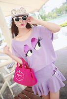 6377 2014 new spring Korean women ladies round neck sleeveless loose two-piece sets with big eyes