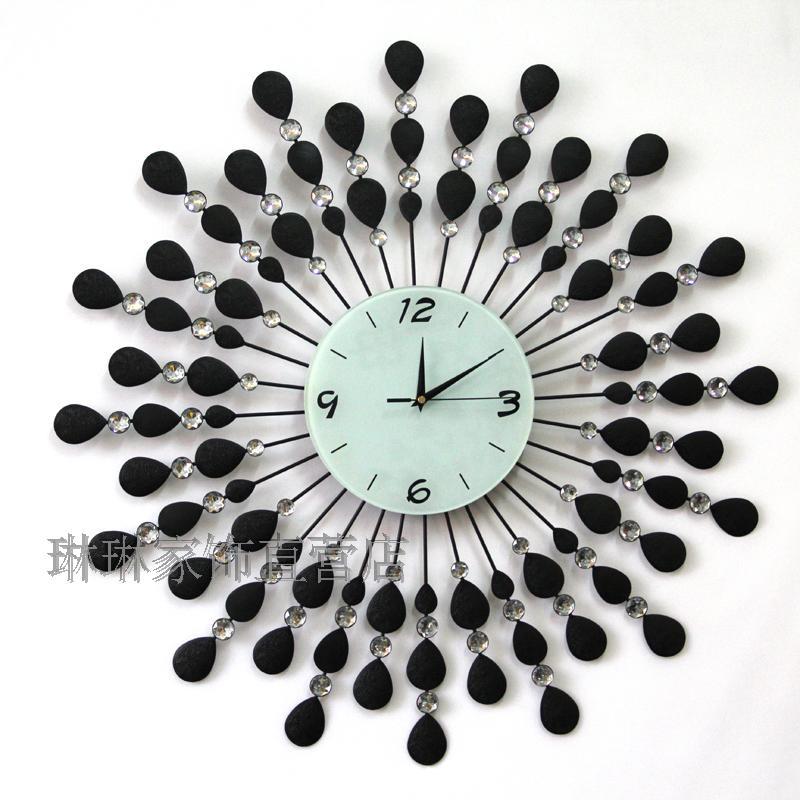 20 Large wrought iron wall clock diamond clock fashion wall clock personality silent watch(China (Mainland))