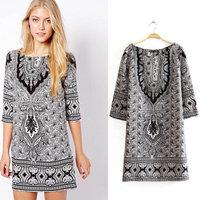2014 European Mango Style Women Summer Dress Vintage Paisley Print Dress O-Neck 3/4 Sleeve Casual Dresses