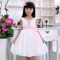 Retail Baby Pink Bowknot Cute Flower New 2014 Girls Evening Dress For Kids Summer Dress Girl Princess Dresses D1404