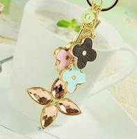 Fashion four leaf clover crystal car keychain bags buckle