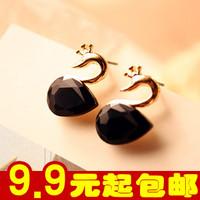 E2128 Korean jewelry Korea imported super flash black diamond ~ gorgeous crystal earrings gemstone Swan 5g