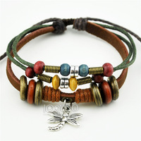 A0497 2014 New Arrival Fashion Dragonfly Pendant Beaded Genuine Leather Wrap Bracelet Jewelry Free Shipping 50pcs/lot