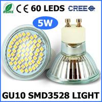 10XUltra Bright Cree 5W GU10 Socket 3528 SMD 60 Led Bulb Lamp AC220 230 240V CE/RoHS 2 Years Warranty Replace Halogen