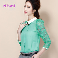 2014 spring new Fashion plus size women's T-shirt body Chiffon patchwork lace crochet blouse Sweet ladies tops