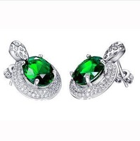 2014fashion design 925 silver green crystal earrings,wedding earrings,SYE0349P