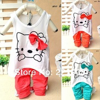 2014 new arrivel  summer  kt cat suits  sport children sets  2pcs/set, 5set/lot free shipping