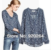 2014 New Spring Fashion Vintage European Style Casual Blue Porcelain Print Long Sleeve V-neck Chiffon Women Blouses Z-JZ2134