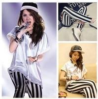 2014 new 1321   spring fashion vertical stripe slim all-match legging  trousers skinny pants
