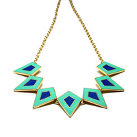 Free Shipping 2014 New Style 3 Colors 14K Gold Plated Rhombus Accessory Fashion Necklace Jewelry  For Girl&Women