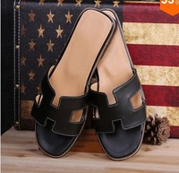 Popular 100% Genuine Soft Leather Women Flats Black Sandals Loafer Slippers Shoes For Women 34-42 Size