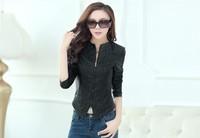 2014 fashion hot sell brand women's genuine leather rivet jacket coat women big size Slim-fitting leather jacket coat M-XXXL