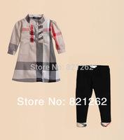 2014 new hot sale fashion children clothing set girl's shirt+pant suit set plaid classic brand European