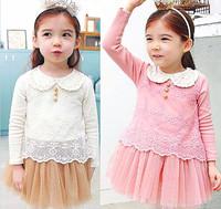 Spring girl dolls collar lace net yarn children's princess dress veil Cheap