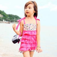 Free shipping 2014 132 girls swimsuit dress child bathing suit one piece swimwear baby bikinis