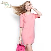 2014 spring women's half sleeve one-piece dress all-match pocket one-piece dress spring and autumn 0482