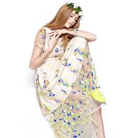 2014 spring women's embroidery gentlewomen flower one-piece dress full dress 0924