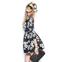 2014 spring print one-piece dress fashion women's slim princess yh-0943