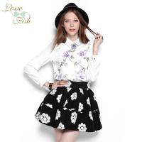 2014 spring women's sweet all-match chiffon shirt long-sleeve shirt 0835