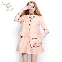 2014 spring women's small ladies half sleeve short jacket bust skirt set female 1001