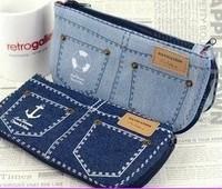 Denim big capacity pencil case stationery bags multifunctional canvas brief bag