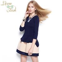 2014 spring sweater female brief high quality three quarter sleeve slim top 0934
