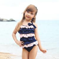 Free shipping 2014 139 girls swimsuit dress child bathing suit one piece swimwear baby bikinis