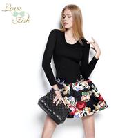 2014 spring fashion slim fashion faux two piece color block decoration flower one-piece dress 0957