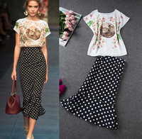 2014 spring and summer new European style catwalk womens sets dot chiffon print blouse + fishtail skirt suit