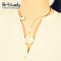 Artilady Big Pearl Torques Collar Necklace Bracelet Set Big Pearl Necklace Pearl Pendant Statement Necklace of  Women 2015