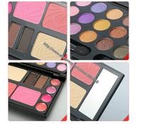 wholesale 21 colors cosmetic multi combination Makeup set cheek+eyebrow powder+lip gloss+eyeshadow 50sets/lot free EMS shipping