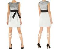 2014 new fashion model Free shipping Net yarn jacquard fabric color dress 2236