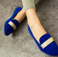Promotion!!! 2014 Spring and Autumn Women Shoes Rhinestone Peas Women's Shoes Fashion Casual Flat heel Shoes New