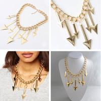 2014 new Women Jewelry Fashion Metallic Triangle Arrows Chunky Chain Choker Necklace