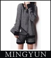 New 2014 Spring Fashion Lady Twinset Sweater Set Women Fashion Black White Plaid Sweater Black Free Shipping