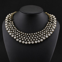 Hot Sale Za Brand Necklace Statement Big Chunky Choker Collar Bib Necklace 2014 Crystal Bead Necklaces & Pendants Women Jewelry