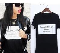 women men print letters Ballinciaga Harlem tee t shirt short sleeve Fashion black black