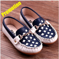 2014 Fashion plaid patchwork  leather child gommini loafers New soft kids casual shoes Boy and girls leisure shoes cow muscle
