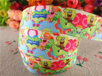 2014 new arrival 7/8'' 22mm 10 yards Spongebob printed grosgrain ribbon cartoon ribbons cloth tape hair accessories  WQ032221
