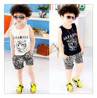 Free Shipping 2014 New top cotton children boy's kid's 2pcs sleeveless vest+ Leopard grainshorts clothing set girls sport suits