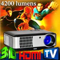 4200Lumen 1080P 200W lamp led 3d home theater projector projektor Full HD Portable Video TV Beamer