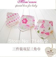 Ventas al por menor ( nueva llegada ) 3 piezas set baberos 3designs infantil mixto saliva toalla 100 % algodón de la marca original con el envío libre(China (Mainland))